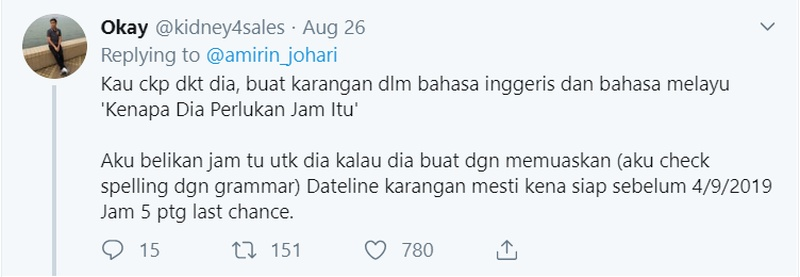 A witty comment from a Twitter user asking the girl to write an essay on why she needed that watch ― he even put in a deadline for it too! ― Screengrab via Twitter/@amirin_johari
