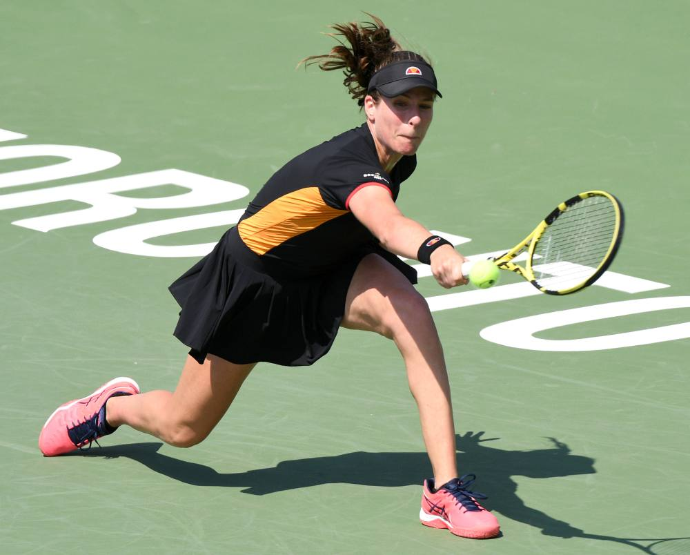 Johanna Konta (pic) plays a shot against Dayana Yastremska during the Rogers Cup tennis tournament at Aviva Centre in Toronto August 6, 2019. ― Picture by Dan Hamilton-USA TODAY Sports via Reuters