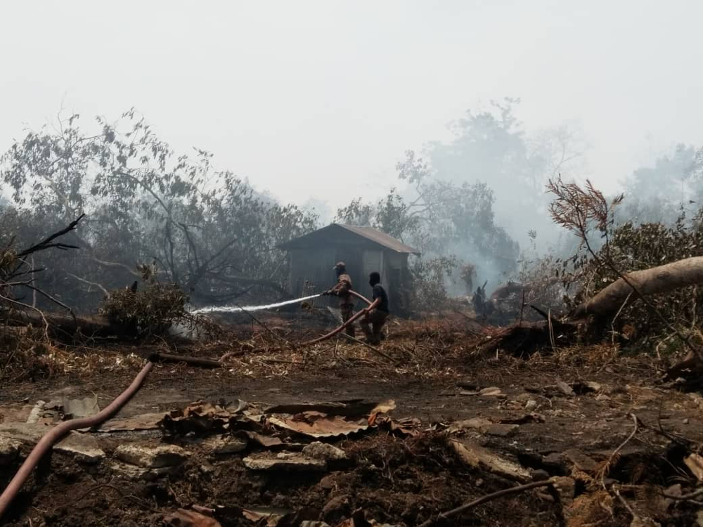 Firemen containing the secondary forest fire at Jalan Tanjung Kupang in Kampung Pekajang, Gelang Patah in August 2019. — Picture courtesy of the Johor Fire and Rescue Department