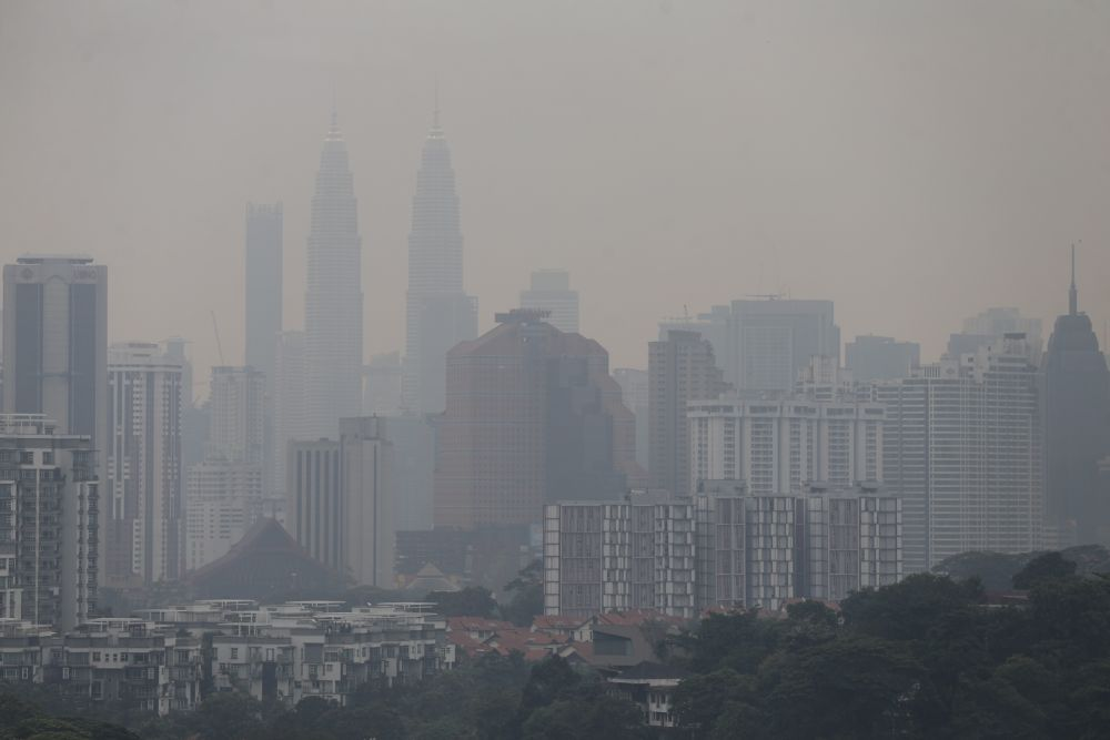 Kuala Lumpur is shrouded in a thick blanket of haze August 1, 2019. — Picture by Ahmad Zamzahuri