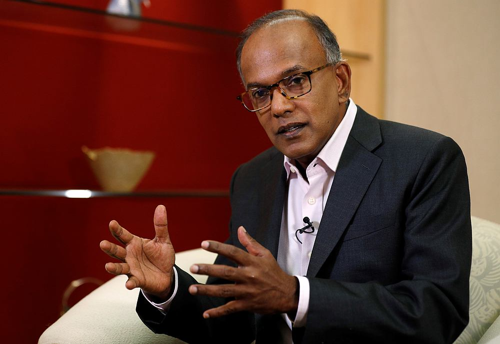 Singapore's Home Affairs Minister K. Shanmugam speaks during an interview in Singapore July 31, 2019. — Reuters pic