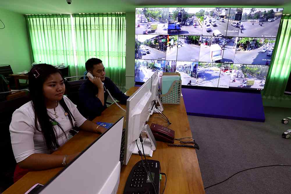 Staff members work at the technology control centre at Mandalay City Development Committee headquarters in Mandalay, Myanmar March 28, 2019. — Reuters pic