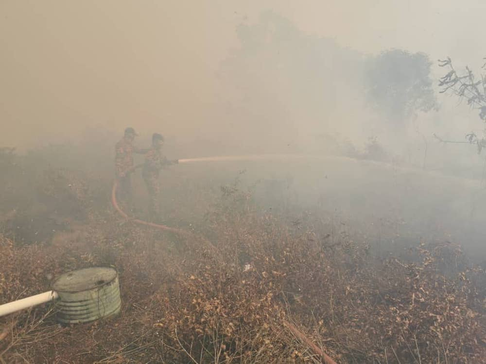 Firemen battle a wildfire in Pulau Bruit in Mukah August 10, 2019. — Picture courtesy of the Sarawak Fire and Rescue Department