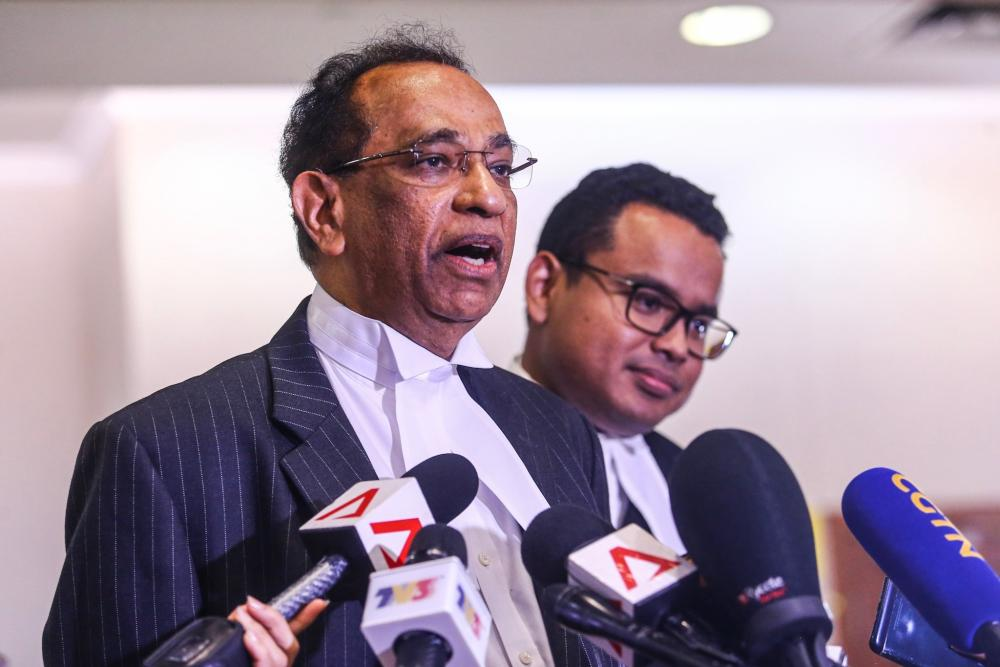 Ad hoc prosecutor Datuk V. Sithambaram, who leads the prosecution team, addresses the media at the Kuala Lumpur Court Complex during last day of SRC International trial, August 27, 2019. ― Picture by Hari Anggara