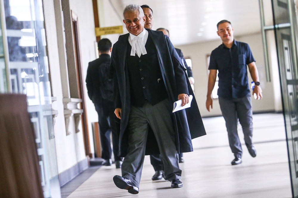 Attorney General Tommy Thomas arrives at the Kuala Lumpur Courts Complex August 27, 2019. — Picture by Hari Anggara