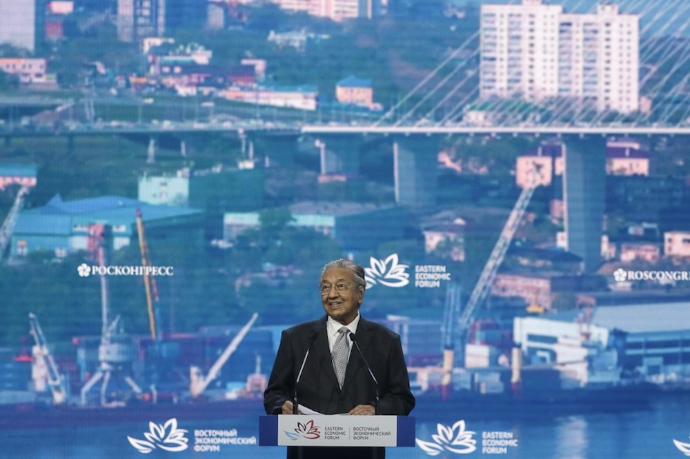 Prime Minister Tun Dr Mahathir Mohamad delivers his keynote address at plenary session of the 5th Eastern Economic Forum (EEF) 2019 at Far Eastern Federal University (FEFU) Campus in Vladivostok September 5, 2019. — AFP pic