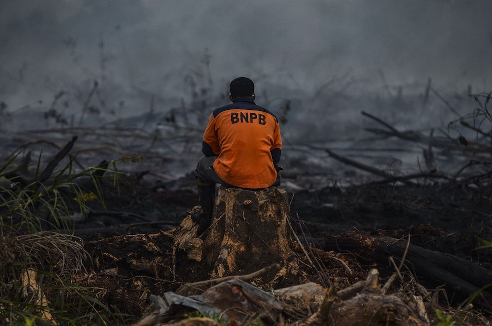 Indonesian firefighters battle a forest fire in Kampar, Riau September 9, 2019. — AFP pic