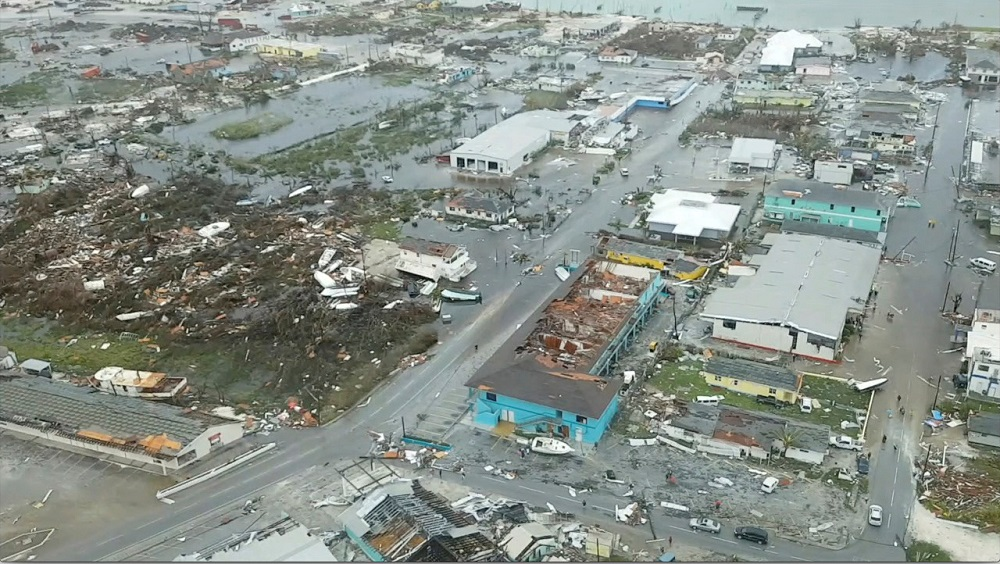 An aerial view shows devastation after hurricane Dorian hit the Abaco Islands in the Bahamas, September 3, 2019, in this still image from video obtained via social media. — Picture by Terran Knowles/Our News Bahamas/via Reuters
