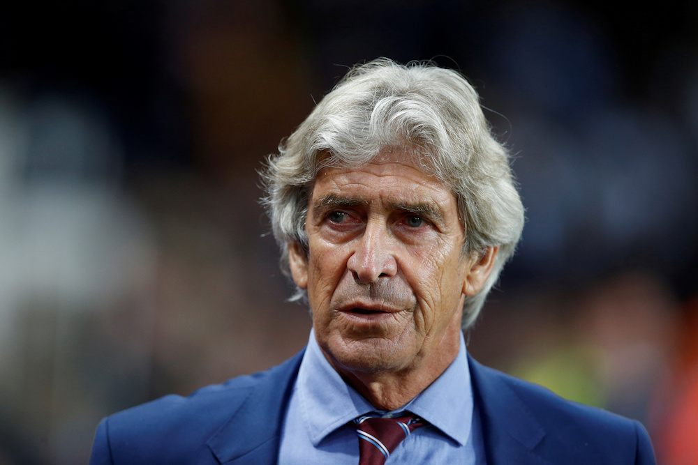 West Ham United manager Manuel Pellegrini before the Premier League match with Aston Villa at Villa Park in Birmingham September 16, 2019. — Reuters pic