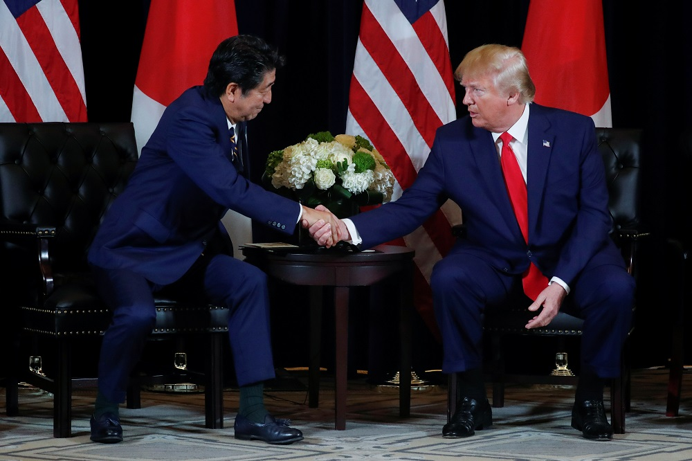 US President Donald Trump holds a bilateral meeting with Japan's Prime Minister Shinzo Abe in New York September 25, 2019. — Reuters pic
