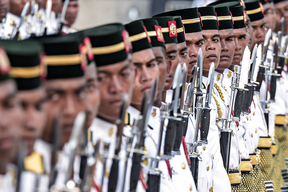 The Malaysian Royal Army Regiment marches during the Trooping the Colour ceremony at Dataran Pahlawan Negara in Putrajaya September 12, 2019. — Picture by Shafwan Zaidon