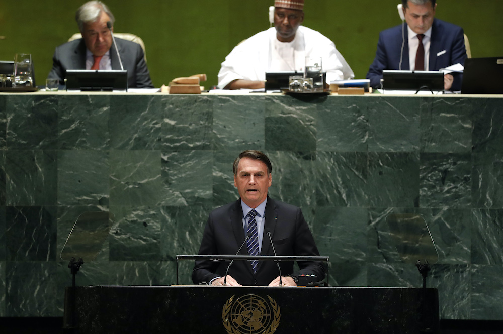 Brazil's President Jair Bolsonaro addresses the 74th session of the United Nations General Assembly at the UN headquarters in New York September 24, 2019. — Reuters pic