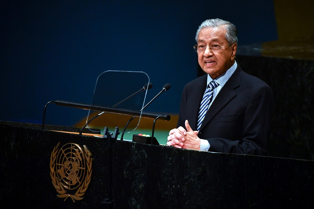 Prime Minister Tun Dr Mahathir Mohamad delivering his statement at the General Debate of the 74th Session of the United Nations General Assembly at the UN headquarters in New York September 28, 2019. — Bernama pic
