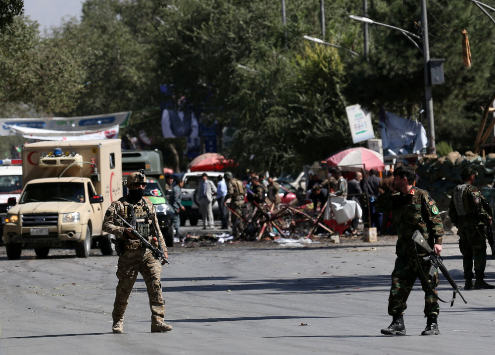 Afghan security forces inspect the site of a blast in Kabul, Afghanistan September 17, 2019. — Reuters pic