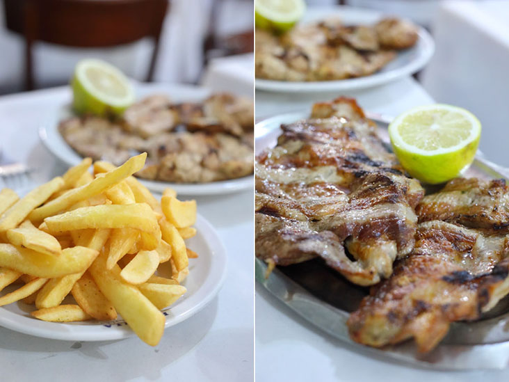 'Papas fritas', Argentinian steak fries (left) and 'matambrito de cerdo' or thin pork fillets (right)