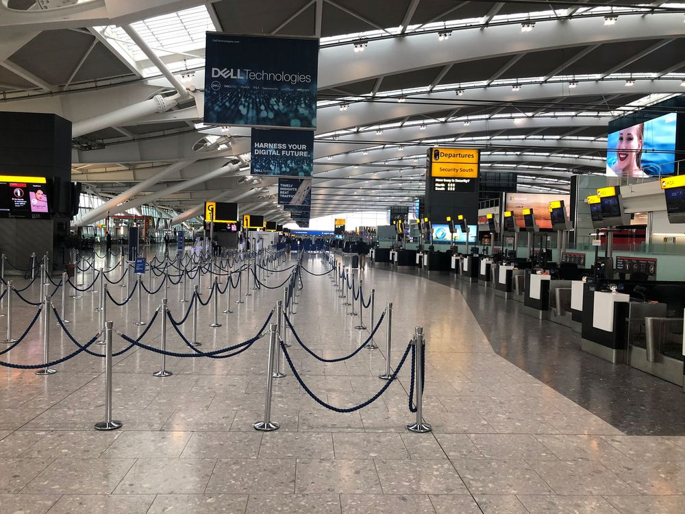Heathrow Airport's Terminal 5 sits empty at 9AM after strike action by British Airways pilots led to the grounding of flights, in London, Britain September 9, 2019 in this image obtained from social media. Rahul Kalia via Reuters