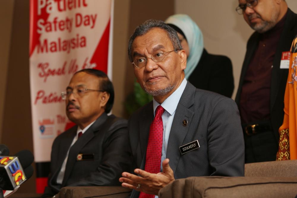 Health Minister Datuk Seri Dzulkefly Ahmad speaks to reporters here after launching the first World Patient Safety Day in Putrajaya September 17, 2019. ― Picture by Choo Choy May