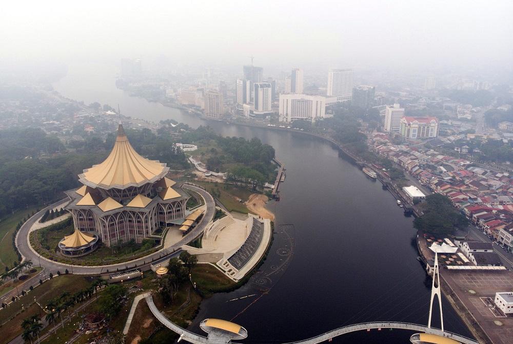 An aerial view of Kuching, seen shrouded in haze September 6, 2019. — Bernama pic