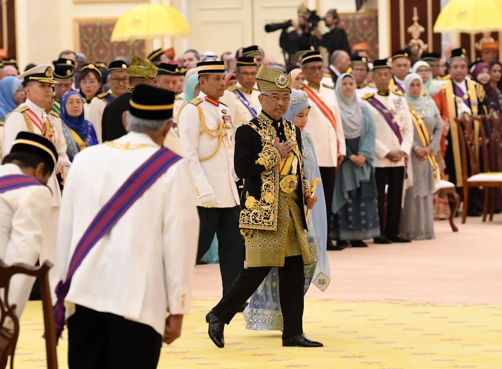 Yang di-Pertuan Agong Al-Sultan Abdullah Ri'ayatuddin Al-Mustafa Billah Shah arrives for the investiture ceremony of federal awards and honours held in conjunction with his official birthday at Istana Negara in Kuala Lumpur September 9, 2019. — Bernama pic
