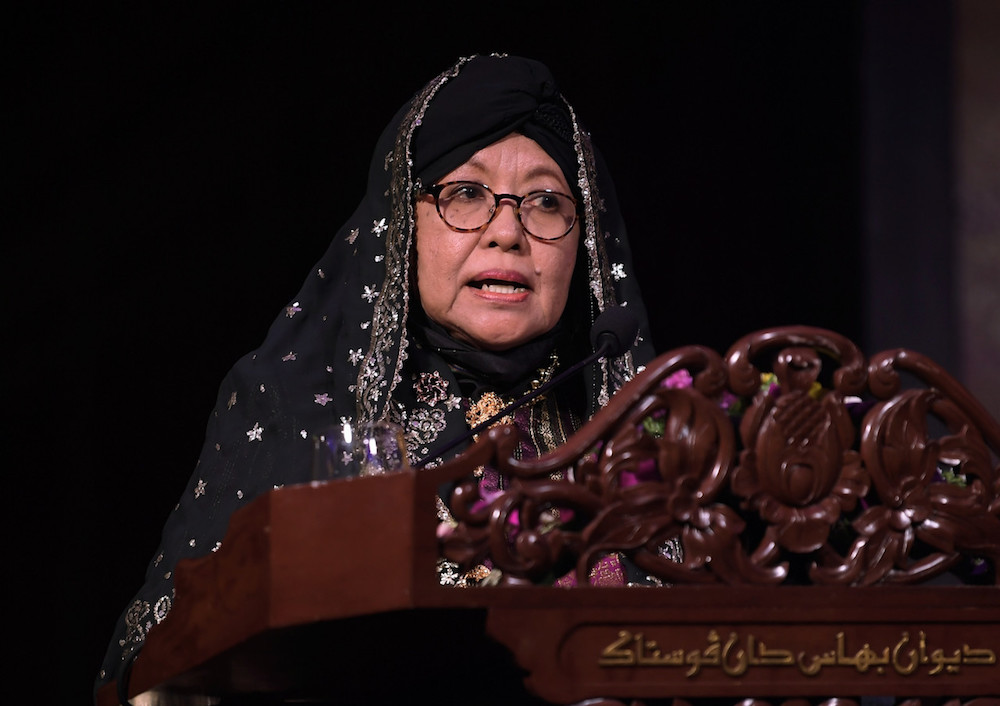 Prof Siti Zainon Ismail addresses the audience after receiving the 14th National Literary Award in Kuala Lumpur September 21, 2019. — Bernama pic
