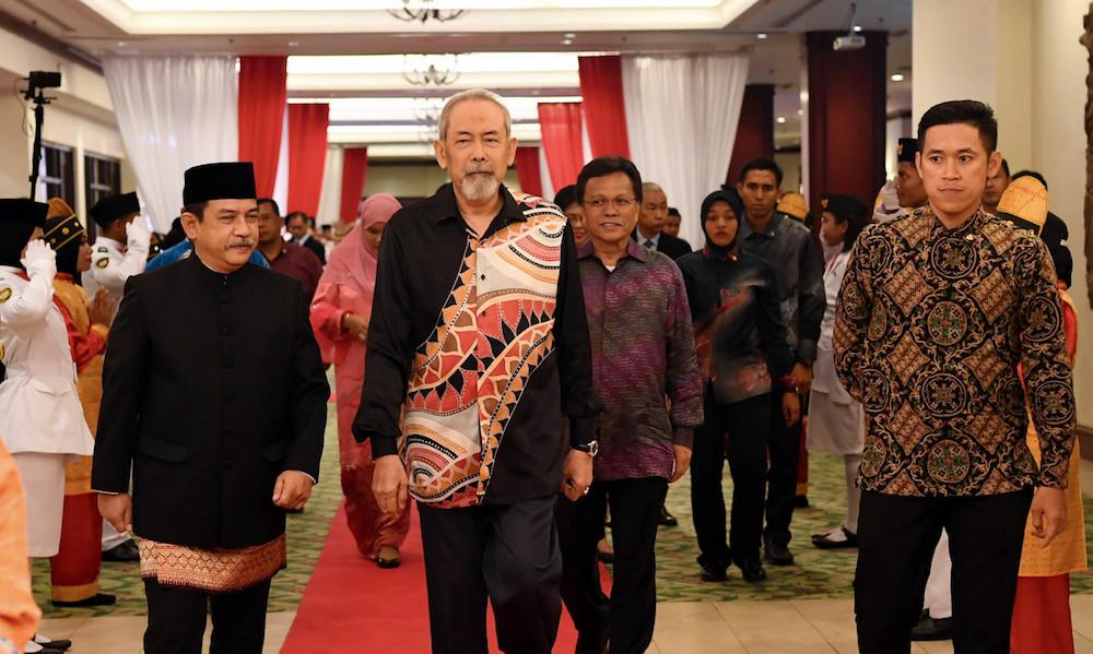 Indonesian Consul-General Krishna Djelani, Yang Dipertua Negeri of Sabah Tun Juhar Mahiruddin and Datuk Seri Shafie Apdal arrive for Indonesia's 74th Independence Day reception in Kota Kinabalu September 23, 2019. — Bernama pic