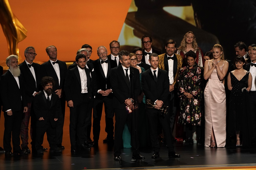 The cast of 'Game of Thrones' accepts the award for Outstanding Drama Series at the 71st Primetime Emmy Awards in Los Angeles, California September 22, 2019. — Reuters pic