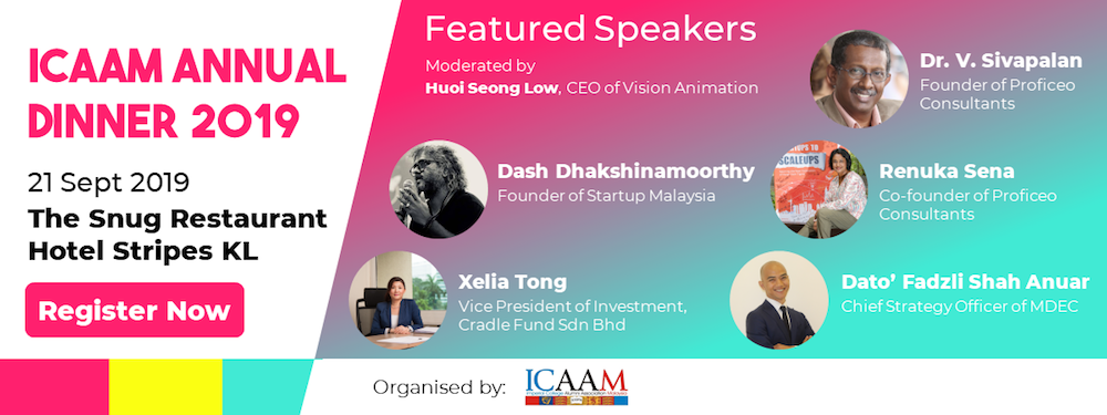 The ICAAM Annual Dinner 2019 will feature a series of sharing sessions featuring five renowned business leaders.