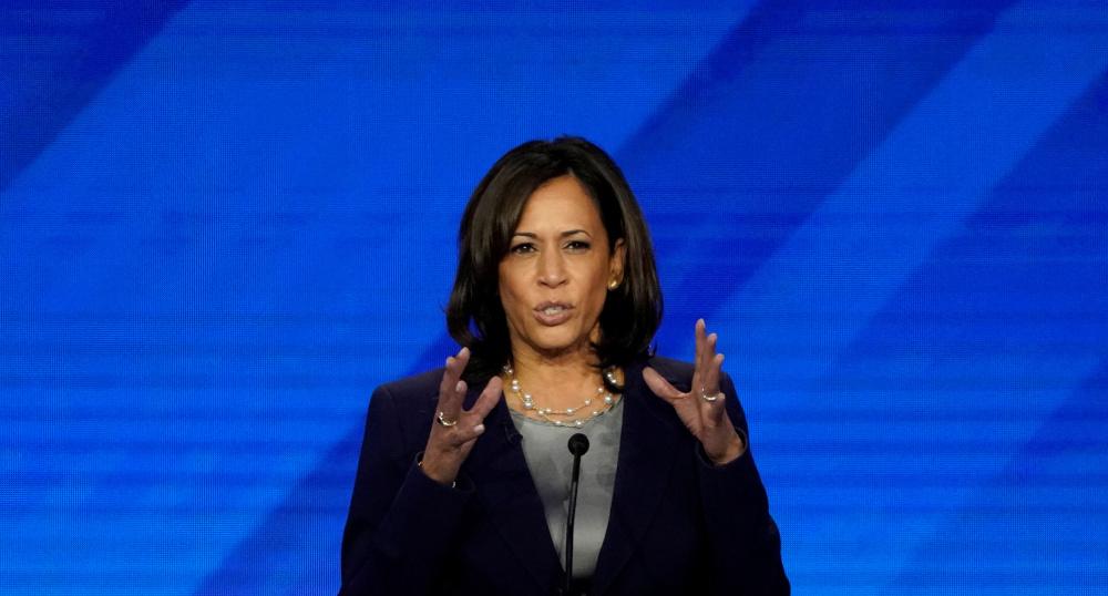 Senator Kamala Harris speaks during the 2020 Democratic US presidential debate in Houston, Texas, US September 12, 2019. — Reuters pic