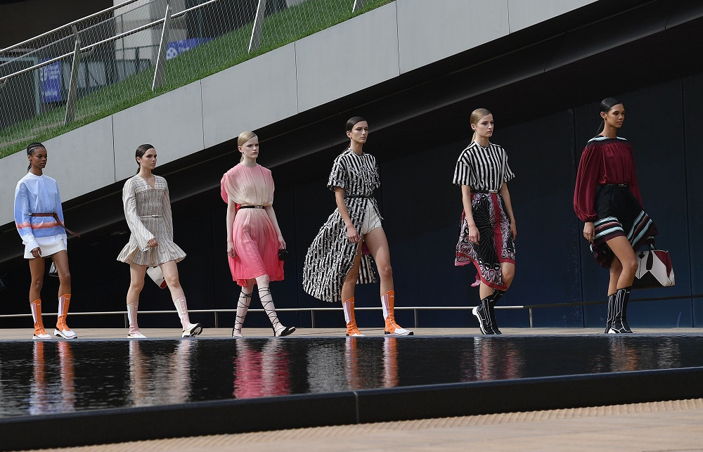 Models walk the runway for the Longchamp Spring/Summer 2020 runway show during New York Fashion Week in New York September 7, 2019. — AFP pic
