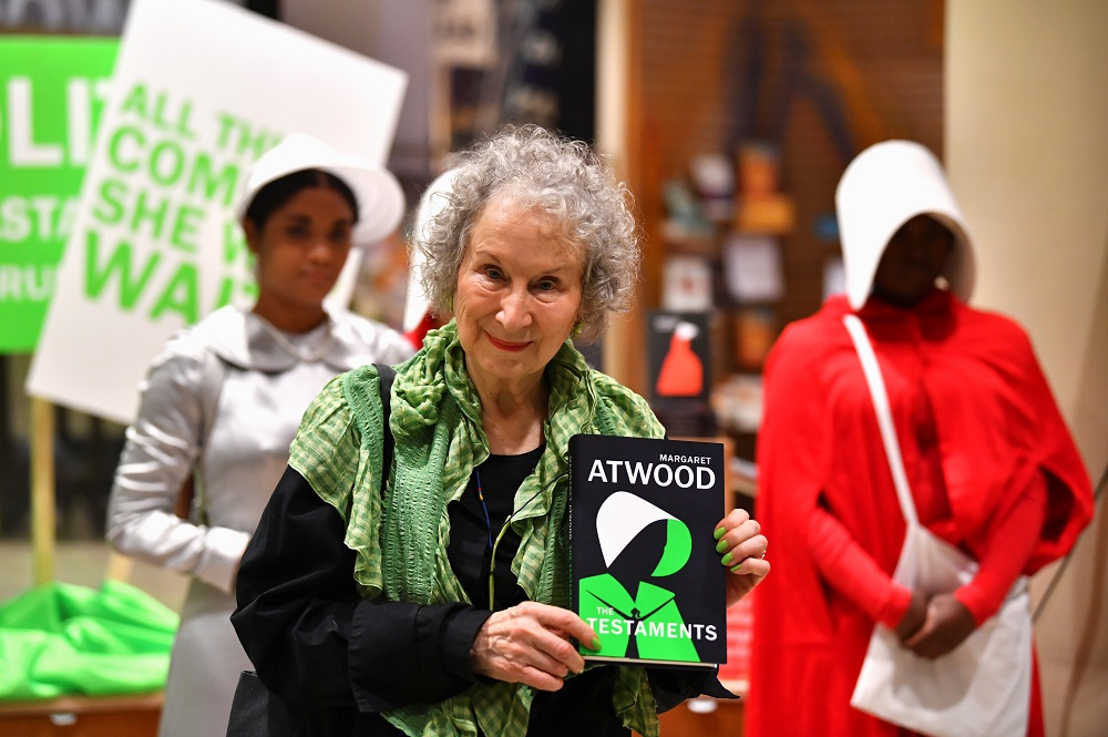 Author Margaret Atwood holds her new novel 'The Testaments' during the launch at a book store in London September 10, 2019. — Reuters pic