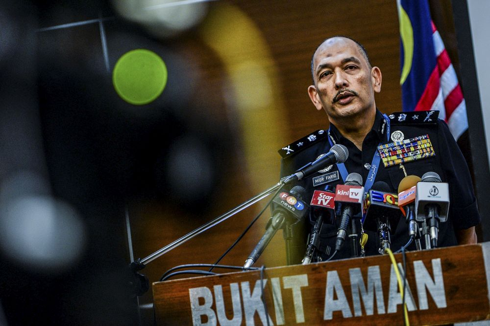 Senior Assistant Commissioner Mior Faridalathrash Wahid speaks during a press conference at the Bukit Aman police headquarters in Kuala Lumpur September 30, 2019. — Picture by Hari Anggara