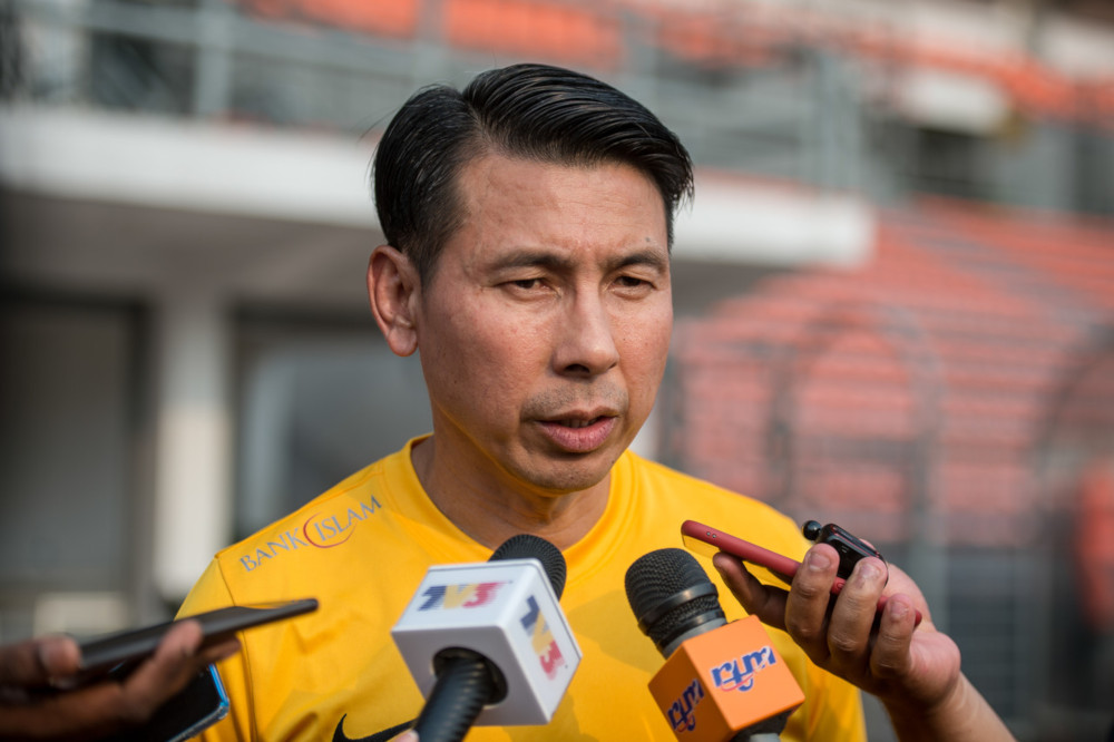 National head coach Tan Cheng Hoe speaks to the media during a training session for Harimau Malaya in preparation for the Group G second round World Cup 2022/Asia Cup 2023 qualifier September 5, 2019. — Bernama pic