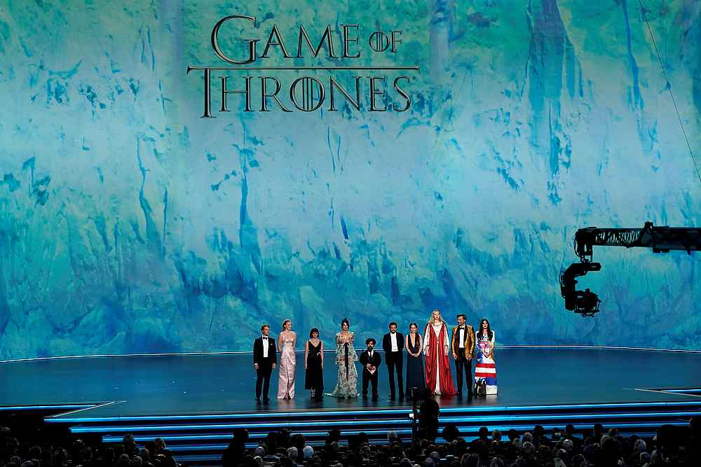 The cast of 'Game of Thrones' stands on stage during the 71st Primetime Emmy Awards show in Los Angeles, September 22, 2019. — Reuters pic