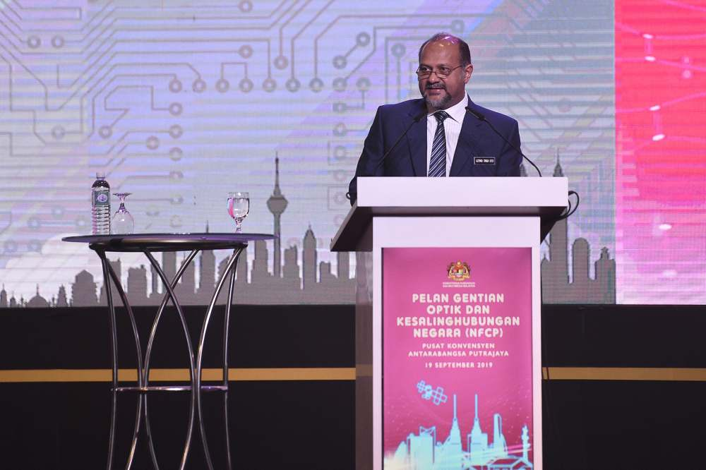Gobind Singh Deo speaks during the launch of the National Fiberisation and Connectivity Plan in Kuala Lumpur September 19, 2019. ― Picture by Miera Zulyana