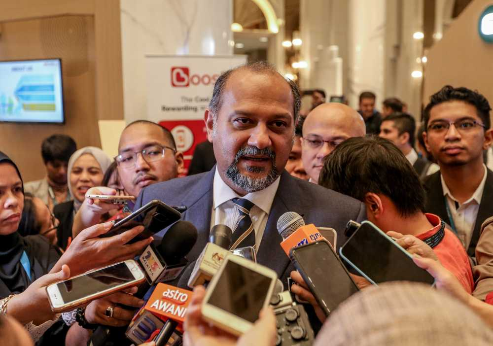 Communications and Multimedia Minister Gobind Singh Deo speaks to reporters after the launch of the GSMA Mobile 360 exhibition in Kuala Lumpur September 24, 2019. ― Picture by Firdaus Latif