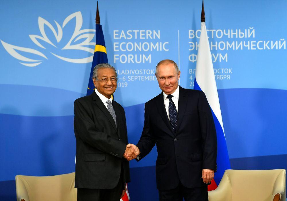 Tun Dr Mahathir Mohamad meets Russian President Vladimir Putin ahead of the Eastern Economic Forum (EEF) in Vladivostok September 5, 2019. ― Bernama pic