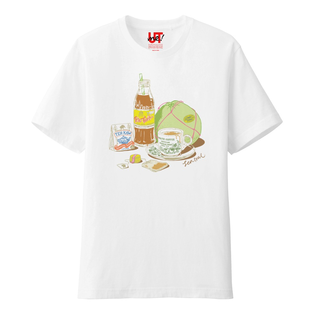 Central region favourites teh tarik, Ipoh white coffee and pomelo featured on a Uniqlo T-shirt. — Picture courtesy of Uniqlo