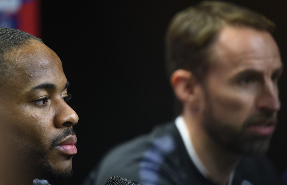 England's Raheem Sterling and coach Gareth Southgate attend a press conference at the Sinobo Arena in Prague October 10, 2019, on the eve of the Uefa Euro 2020 qualifier Group A match with Czech Republic. — AFP pic
