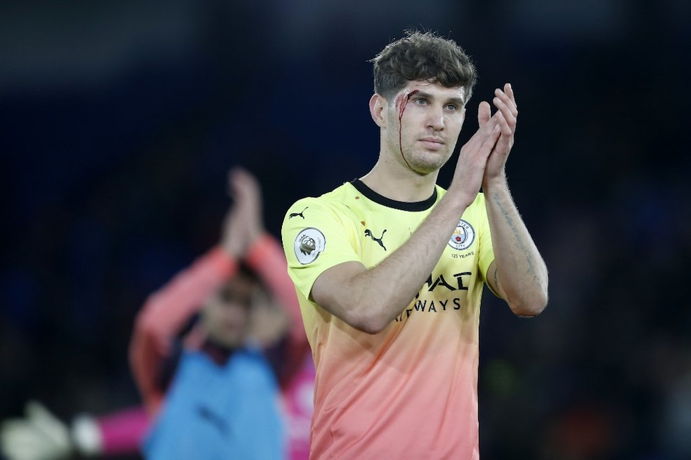 Manchester City's John Stones applauds supporters on the pitch after the Premier League match with Crystal Palace at Selhurst Park in London October 19, 2019. — AFP pic