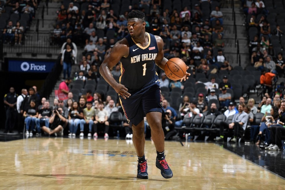 Zion Williamson of the New Orleans Pelicans handles the ball against the San Antonio Spurs during a pre-season game at the AT&T Centre in San Antonio, Texas October 13, 2019. — AFP pic