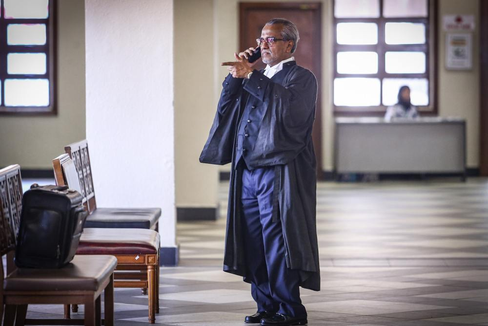 Lawyer Tan Sri Muhammad Shafee Abdullah is pictured at the Kuala Lumpur Court Complex October 16, 2019. ― Picture  by Hari Anggara
