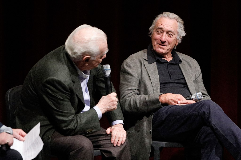Filmmaker Martin Scorsese and actor Robert De Niro on stage during The Academy of Motion Pictures Arts and Sciences official Academy screening of 'The Irishman' at the MoMA, Titus Theatre 2 on October 6, 2019 in New York City. — AFP pic