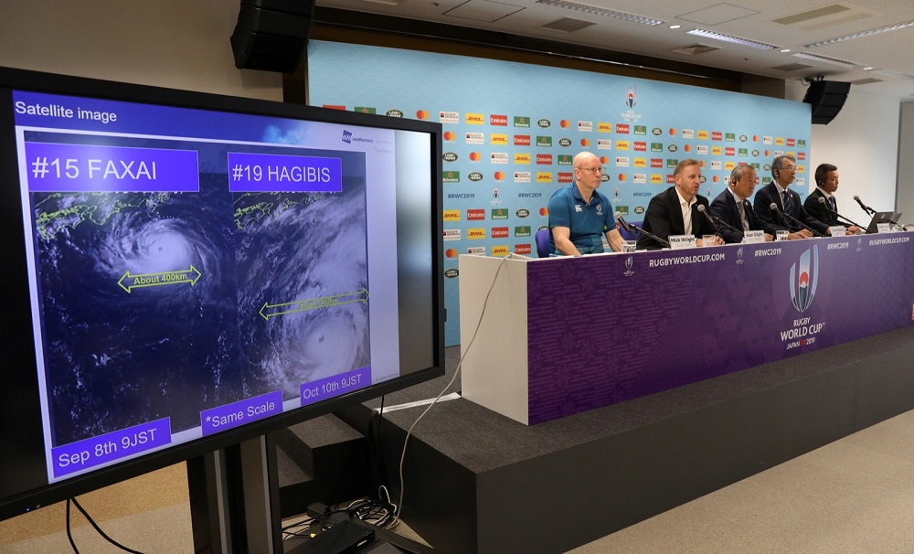 A satellite image showing Typhoon Hagibis is displayed during a press conference by in Tokyo October 10, 2019. — Reuters pic