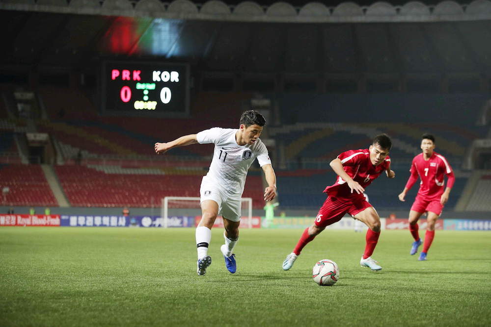 South Korea's Hwang Hee-chan in action during the 2022 World Cup Qualifier Round 3 Group H match with North Korea in Pyongyang October 15, 2019. — Reuters pic