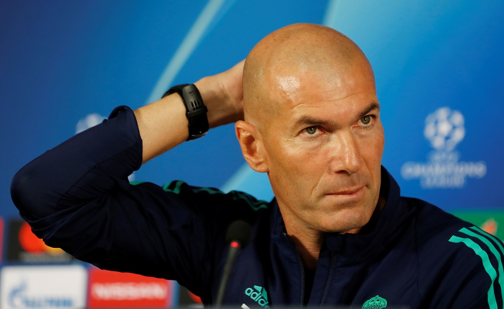 Real Madrid coach Zinedine Zidane during a press conference at the Turk Telekom Stadium in Istanbul October 21, 2019. — Reuters pic