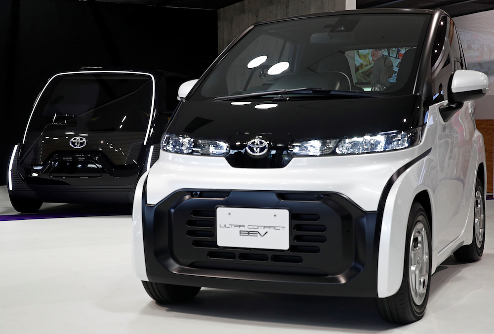 Toyota's Ultra Compact BEV (battery electric vehicle) and the Ultra Compact BEV Concept for Business (L) are displayed at the Tokyo Motor Show October 24, 2019. The last Tokyo Motor Show in 2019 drew around 1.3 million people, according to the Japan Automobile Manufacturers Association. — Reuters pic