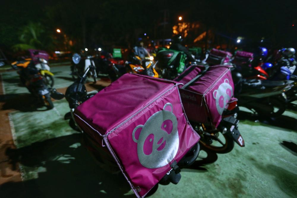 The Foodpanda logo is seen on delivery bikes in Petaling Jaya October 1, 2019. — Picture by Ahmad Zamzahuri