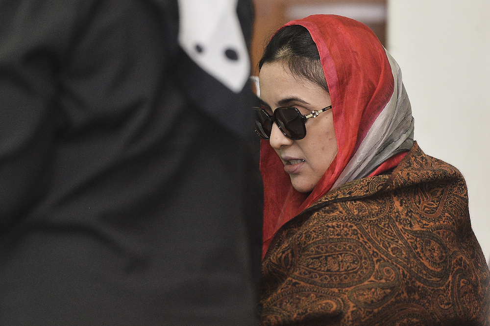Samirah Muzaffar, accused of murdering her husband, Cradle Fund chief executive Nazrin Hassan, attends her trial at the Shah Alam High Court October 3, 2019. — Picture by Miera Zulyana