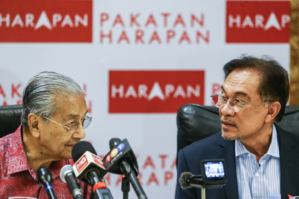 Earlier today, PKR central leadership council (MPP) rejected the suggestion that Tun Dr Mahathir Mohamad is nominated as Pakatan Plus' prime minister candidate, saying it will stick by its president Datuk Seri Anwar Ibrahim. — Picture by Hari Anggara