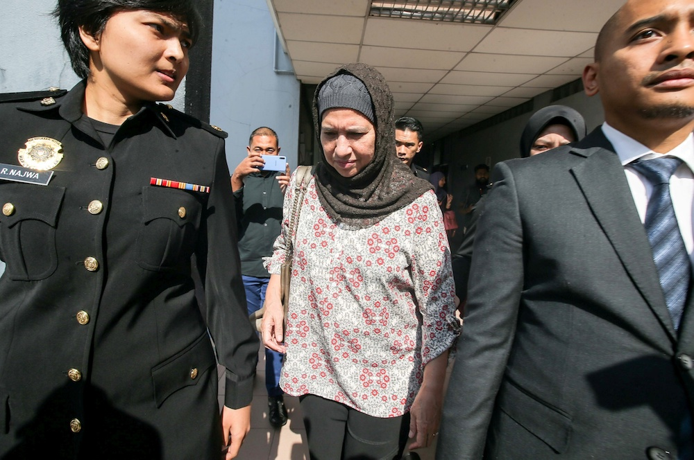 Former Companies Commission of Malaysia (SSM) CEO Datuk Zahrah Abd Wahab Fenner appears at the Sessions Court in Ipoh October 7, 2019. — Picture by Farhan Najib